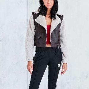 Jackets & Blazers - Leather/Fluffy Chocolate Moto Bomber Jacket